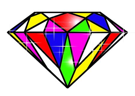 illust: diamond in rainbow color Illustration