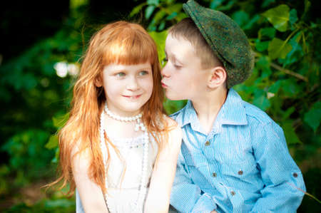 Little boy and girl photo