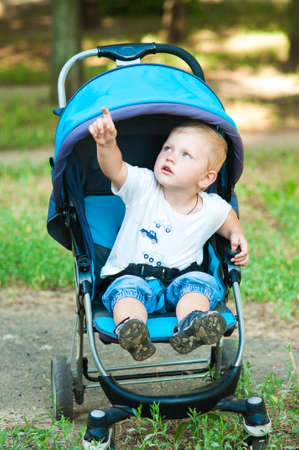 perambulator: Little boy in a pram on a walk in the park