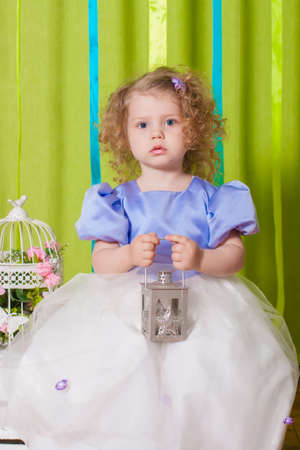 Little girl in a beautiful dress with decorative birdcages photo