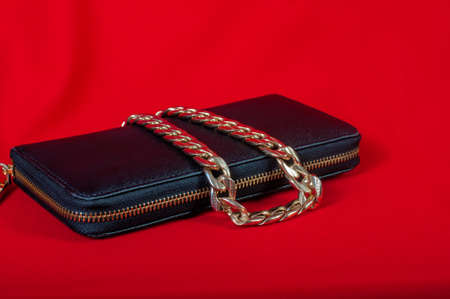 Purse and a necklace on a red background photo