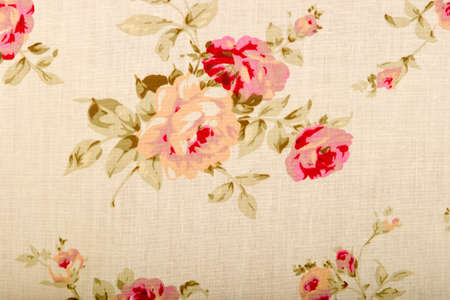 two dimensional: Cotton linen fabric texture with drawing flowers roses