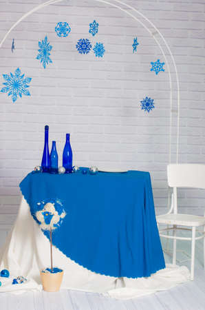 funny ox: Buffet served in the winter blue with snowflakes