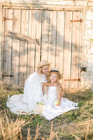 Lovely blonde girl sisters in white dresses and straw hats laugh and eat apples in the countryside in summer