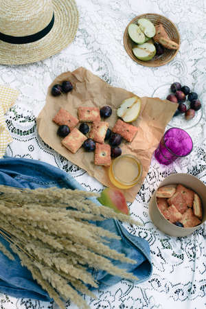 Healthy picnic for a summer vacation with freshly baked, fresh fruit, apples, plums, pears