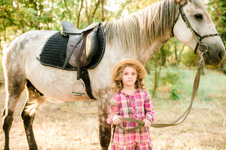A nice little girl with light curly hair in a vintage plaid dress and a straw hat and a gray horse. Rural life in autumn. Horses and people Reklamní fotografie