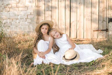 girls wiith blond long hair in a summer field