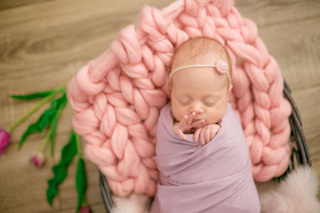 newborn baby girl in pink blanket in a wicker basket decorated with beautiful spring pink tulips