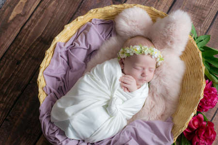 Baby girl in a wicker basket of vine decorated with pink fur in a light winding and a flower wreath on her head. Spring photo. Flowers and children. Happy motherhood Zdjęcie Seryjne