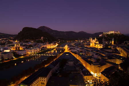 amadeus: Dusk time at the view point of Salzburg, Austria  Stock Photo