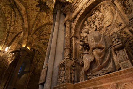 Stone construction inside the cathedral of Segovia, Spain
