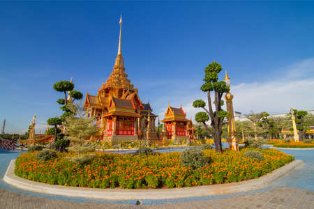 Blue sky day of Royal Thai crematory in center of Thailand  photo