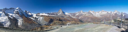 wallis: The panorama picture from the top of Gornegrat with Matterhorn, highlight of Switzerland behind