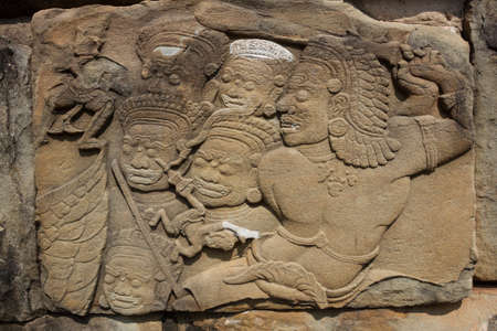 bas: The bas relief of Cambodian culture on Bayon temple wall