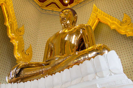 wat traimit: The real gold Buddha sculpture in the temple of Thaiand  Stock Photo