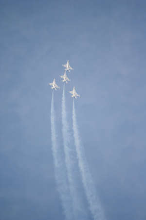 f 16: The group of fighter aircrafts flying in airshow exhibition