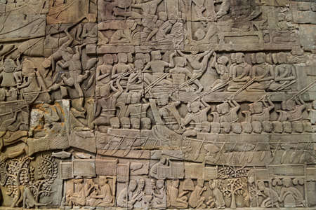 bas: The bas relief of Cambodian culture on Bayon temple wall.