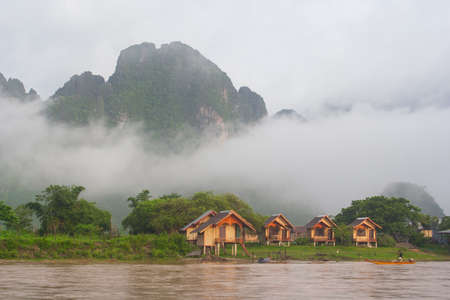small country town: Moring time at Vang Vieng , the small town in Laos country.