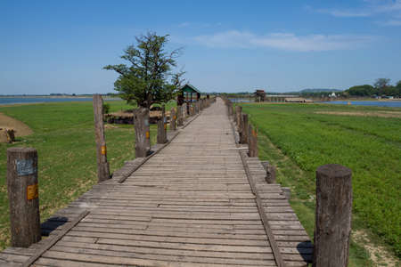 The famous longest in the world wooden bridge in the world. photo