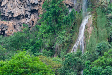 The big waterfall in the movie \Tomb Raider\ in rainy season. photo