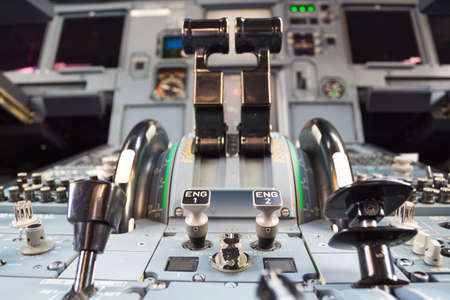 throttle: The interior perspectiion inside the cockpit of aircraft. Stock Photo