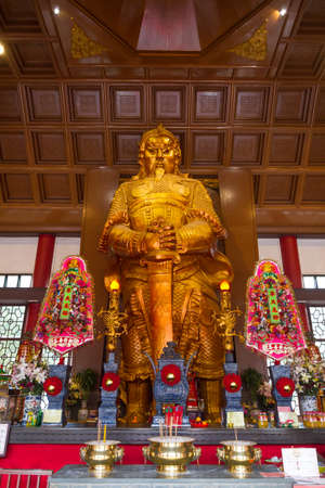 The statue of Chinese warrior in the Che Kung temple, Hong Kong.
