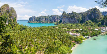 Both Railay coast when look from above. Stock Photo