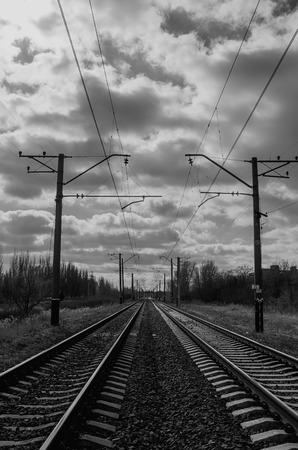 color effect: Railroad way b&w color effect
