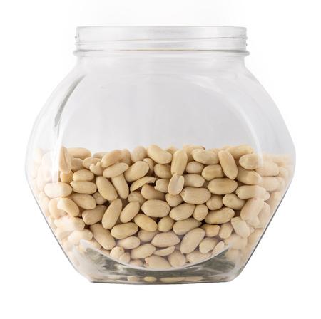 tare: Raw peanuts in big glass tare