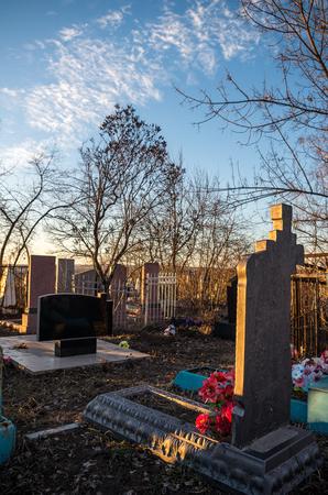 tombstones: Tombstones in sunset in Ukraine