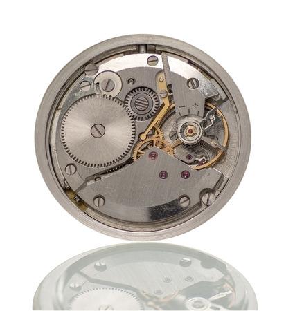 Clock mechanism macro with reflection Banco de Imagens