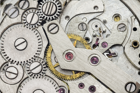 gearwheel: Clock mechanism macro for background Stock Photo