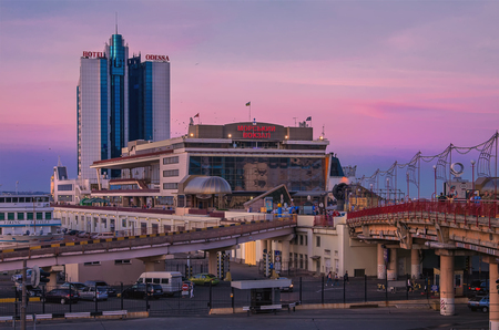 Odessa Hotel at the sunset Editorial