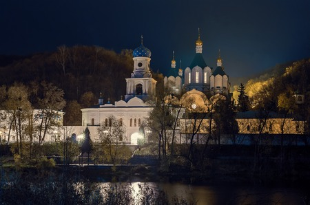 Aerial photo of Svatogorsk Lavra in evening