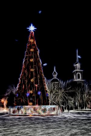 Christmas tree shining shining sketch emulation night Banco de Imagens