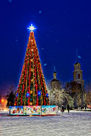 Christmas tree wavy sketch emulation night