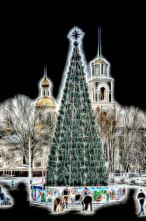 Christmas tree shining sketch emulation day