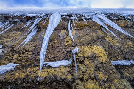 Spectacular icicles ont he wall from the bottom point