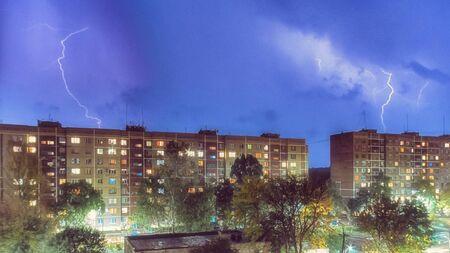 Spectacular lightning strike in urban district