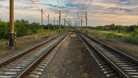 Railroad way to the horizon Banco de Imagens