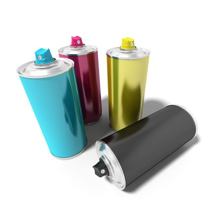 spray paint: Spray can with CMYK colors