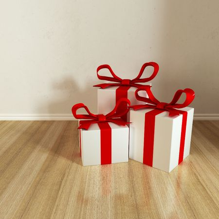 three gift put on floor with reflects photo