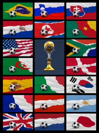 Worldcup word and flags on blue background photo
