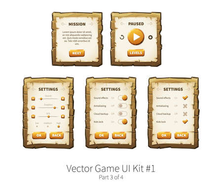 graphical user interface: Vector graphical user interface UI GUI kit for 2d video games. Wooden menu, panels and buttons for menu.