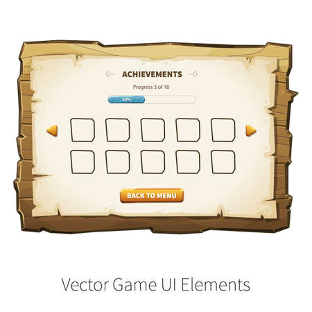graphical user interface: Game achievements screen. Vector graphical user interface UI GUI for 2d video games. Wooden menu, panels and buttons for menu.