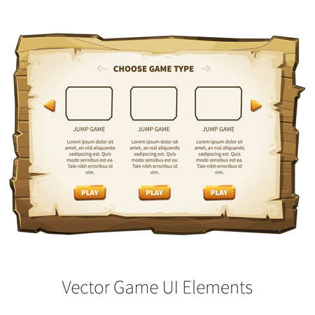 graphical user interface: Choose game type screen. Vector graphical user interface UI GUI for 2d video games. Wooden menu, panels and buttons for menu. Illustration