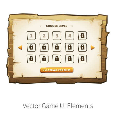 graphical user interface: Choose levels game screen. Vector graphical user interface UI GUI for 2d video games. Wooden menu, panels and buttons for menu.