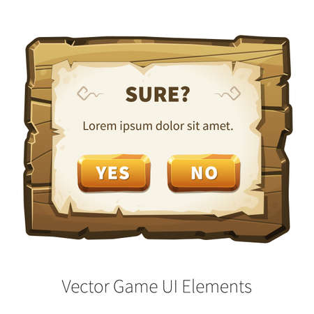 graphical user interface: Game alert. Message screen. Vector graphical user interface UI GUI for 2d video games. Wooden menu, panels and buttons for menu. Illustration