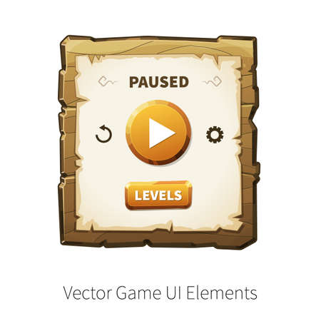 graphical user interface: Game pause. Vector graphical user interface UI GUI for 2d video games. Wooden menu, panels and buttons for menu.