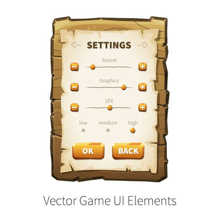 graphical: Game settings screen. Options and preferences. Vector graphical user interface UI GUI for 2d video games. Wooden menu, panels and buttons for menu.